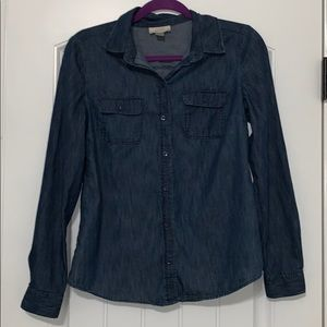 Loft Chambray Button Up Top